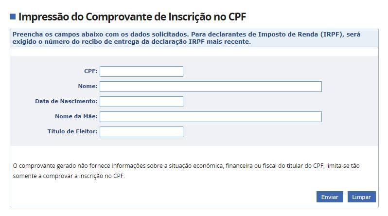 impressão do CPF