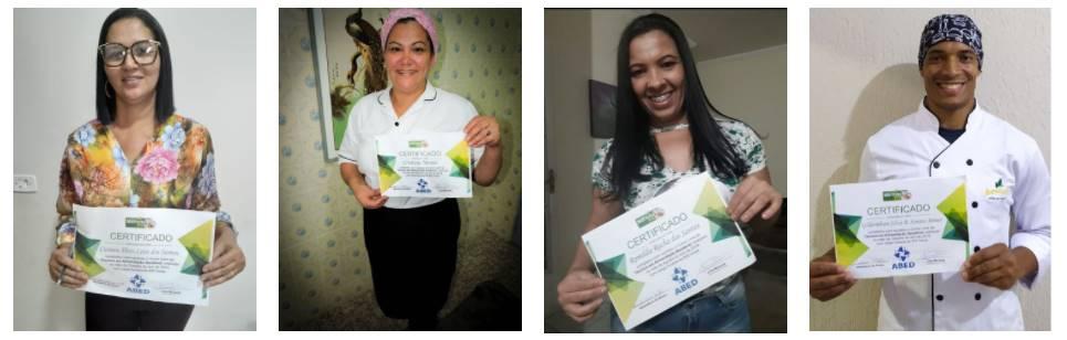 alunos com certificado do curso marmita Fitness